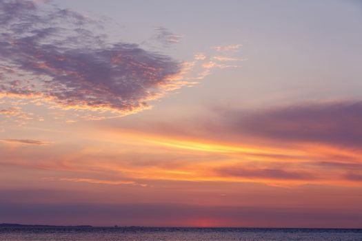 beautiful sunset on indian ocean in Nosy Be island, Madagascar