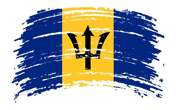 Barbados flag in grunge brush stroke, vector image