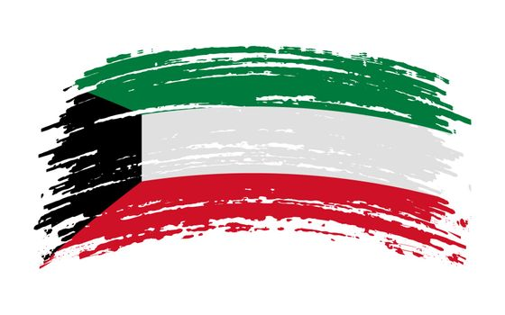 Kuwait flag in grunge brush stroke, vector image