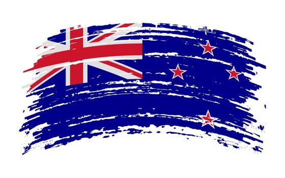 New Zealand flag in grunge brush stroke, vector image
