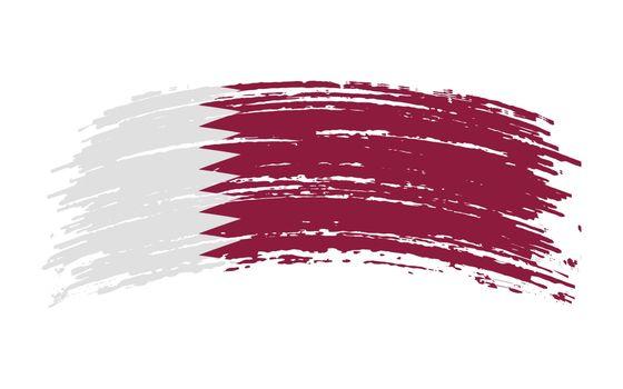 Qatar flag in grunge brush stroke, vector image