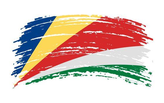 Seychelles flag in grunge brush stroke, vector image