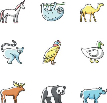 Mammals and birds RGB color icons set
