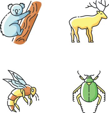 Mammals and insects RGB color icons set