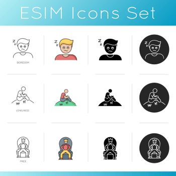 Feelings and emotions icons set