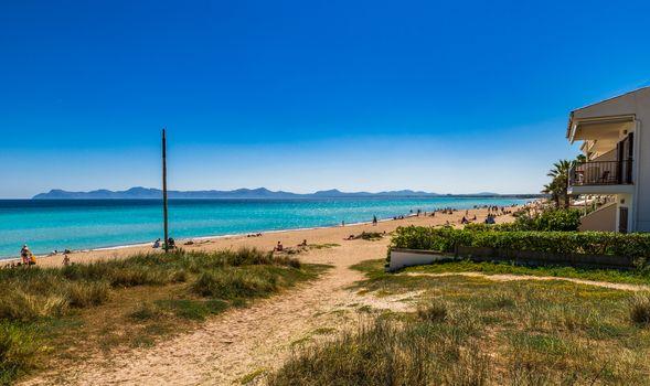 Beach at bay of Alcudia on Mallorca coastline, Spain Balearic islands