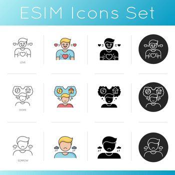 Good and bad feelings icons set