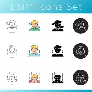 Good and bad emotions icons set