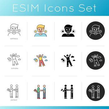 Good feelings and bad qualities icons set