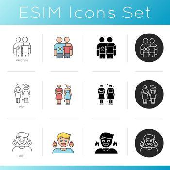 Human feelings and relationship icons set