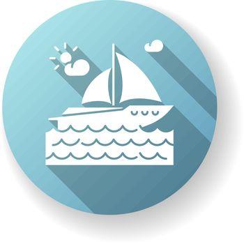 Yachting blue flat design long shadow glyph icon