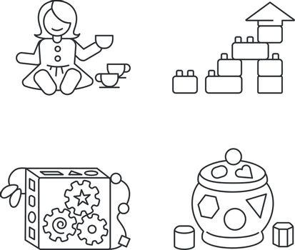 Sensory toys for toddlers pixel perfect linear icons set. Baby doll with tea set. Educational toys for kids development. Customizable thin line contour symbols. Isolated vector outline illustrations