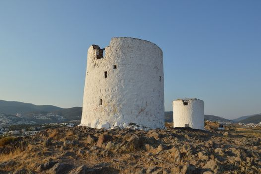 Bodrum windmill for the extraction of olives architecture in the Turkey