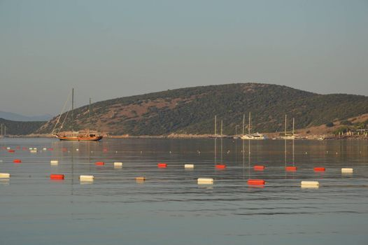 Gumbet, Bodrum Aegean sea bay and beach in the panorama