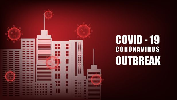 COVID-19, Coronavirus outbreak background with city in paper cut