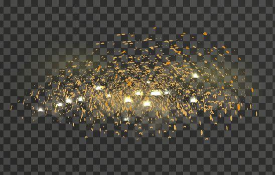 Glowing sparkles glare light effect on a transparent background. Sparks flickering lights. Vector illustration