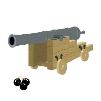 Antique pirate sea gun on a wooden carriage with cannonbals on a white background