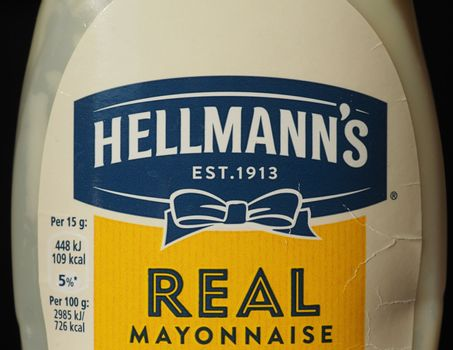 NEW YORK, USA - CIRCA JANUARY 2020: Hellmann's mayonnaise bottle