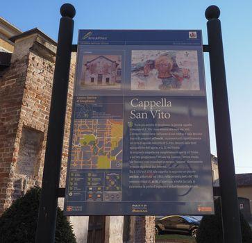 GRUGLIASCO, ITALY - CIRCA DECEMBER 2018: San Vito chapel tourists information (in Italian)