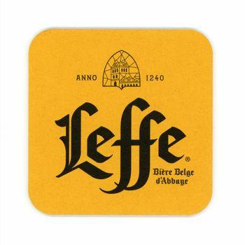 BRUSSELS, BELGIUM - CIRCA MAY 2019: Beermat of Belgian beer Leffe