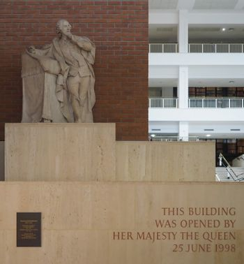 Shakespeare sculpture by Roubiliac at the British Library in Lon