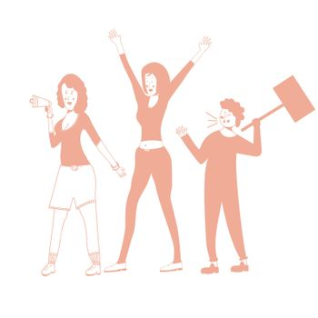People who picket protest for workers rights. Social activism. illustration