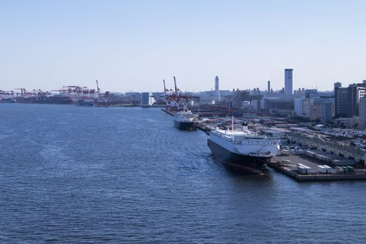 View of the Tokyo Bay during the day from the Rainbow Bridge in