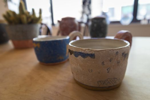 Pottery collections for sale at the gallery in Kamakura, Japan.