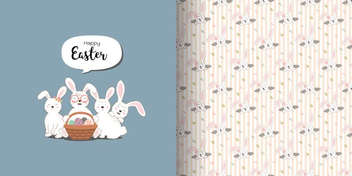 Cute rabbits greeting card and print seamless pattern for decorative,apparel,fabric,textile or kids product,vector illustration