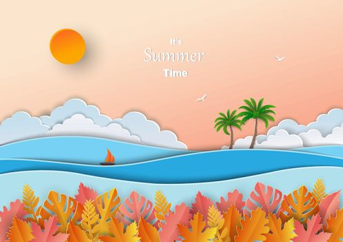 Concept of summer time,paper art design with tropical leaves,sea ocean,boat,coconut tree and sky,vector illustration