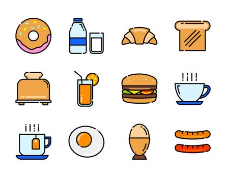 set of breakfast icon color and thin line.