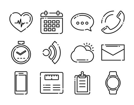 Thin line icons fitness tracker technology data with application