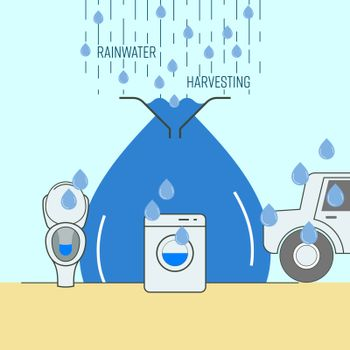 Rainwater harvesting for household reuse. Save water concept. Vector illustration.