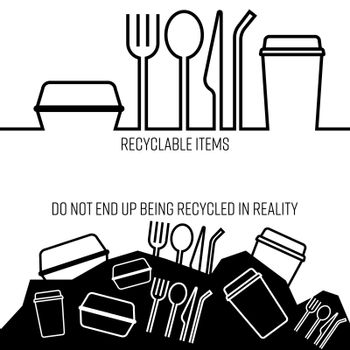Continued outline flat icons of single-use plastic product. Misconception about recyclable items concept. Vector illustration.