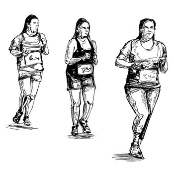 Drawing of the woman running