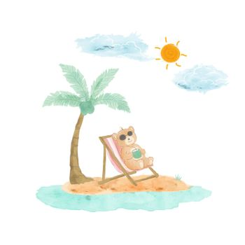 Cute bear happy on summer time,watercolor design for decorative,kid product,t-shirt,banner or background,vector illustration