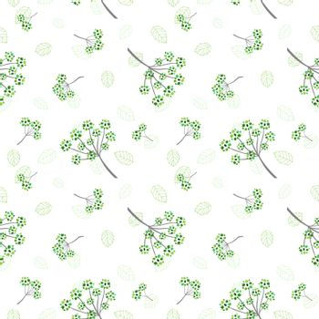 Monotone green flowers and leaves seamless pattern for decorative,fabric,textile,print or wallpaper,vector illustration