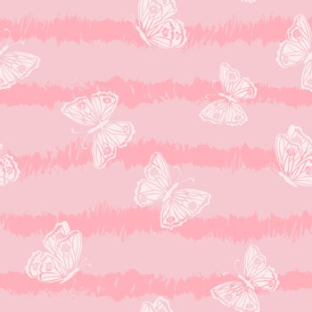 Hand drawn butterflies seamless pattern on sweet background,for decorative,fashion,fabric,wallpaper and all print,vector illustration