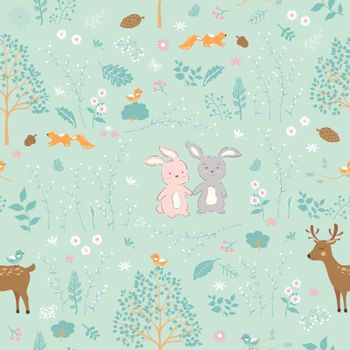Forest on springtime with cute animals seamless pattern,for decorative,kid product,fashion,fabric,wallpaper and all print,vector illustration
