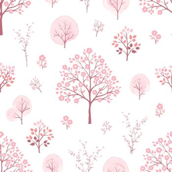 Sweet pink flowers blossom on springtime seamless pattern,for decorative,kid product,fashion,fabric,wallpaper and all print,vector illustration