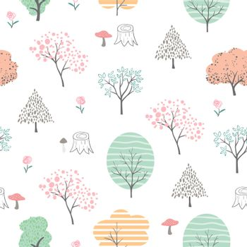 Cute colorful forest seamless pattern,hand drawn cartoon isolated on white background,vector illustration