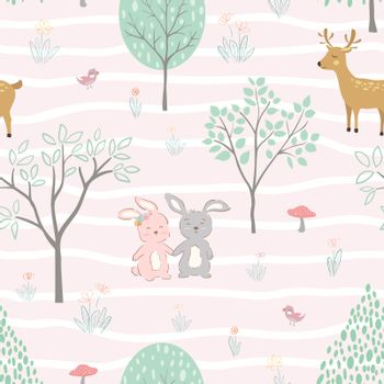 Cute animals happy on springtime seamless pattern,for decorative,kid product,fashion,fabric,wallpaper and all print,vector illustration