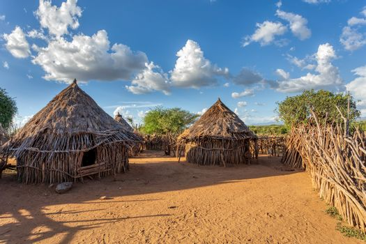 Hamar Village. The Hamar people are a primitive tribe in South Ethiopia, Africa