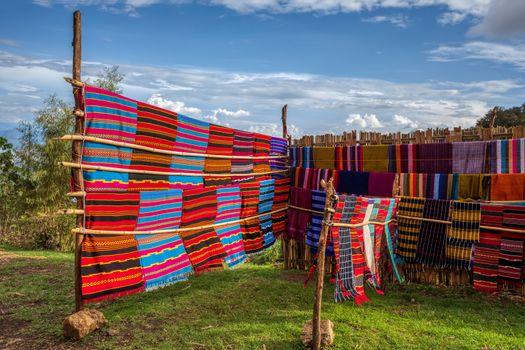 Traditional Ethiopian textiles, hand made colorful scarf on market, near Dorze Village, Lake Tana Ethiopia