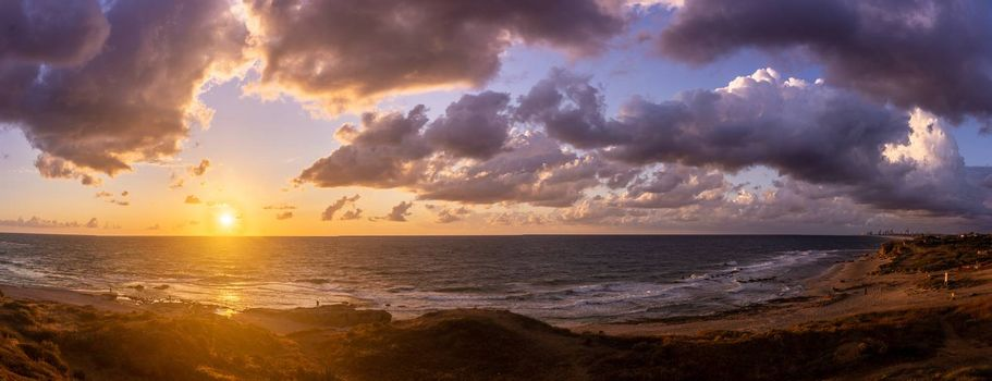 Sunset dream of romantic travel to seashore of Israel