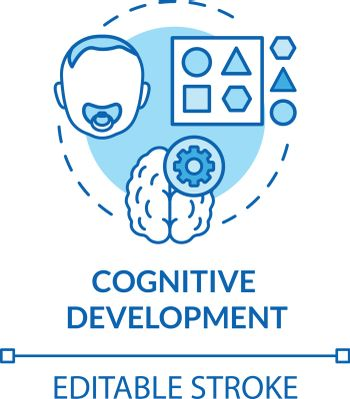 Toddlers cognition concept icon. Infant cognitive activities. Day care center. Baby cognitive development idea thin line illustration. Vector isolated outline RGB color drawing. Editable stroke