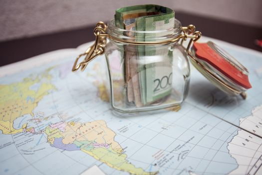 On the map costs small glass jar with savings