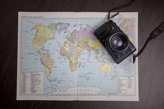 The camera lies on the world map
