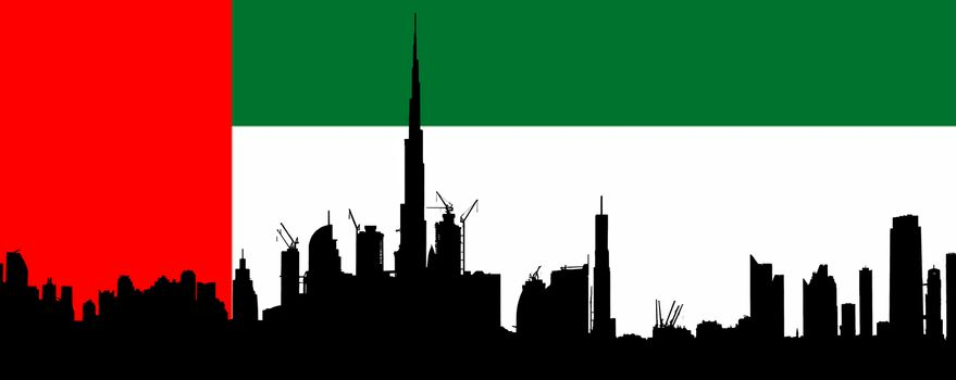 Dubai silhouette with UAE Flag in Background