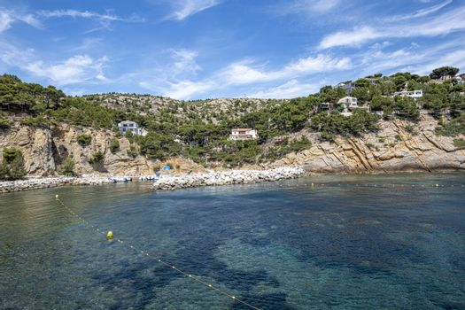 Port and and houses in the iconic Calanque of Figuieres, France